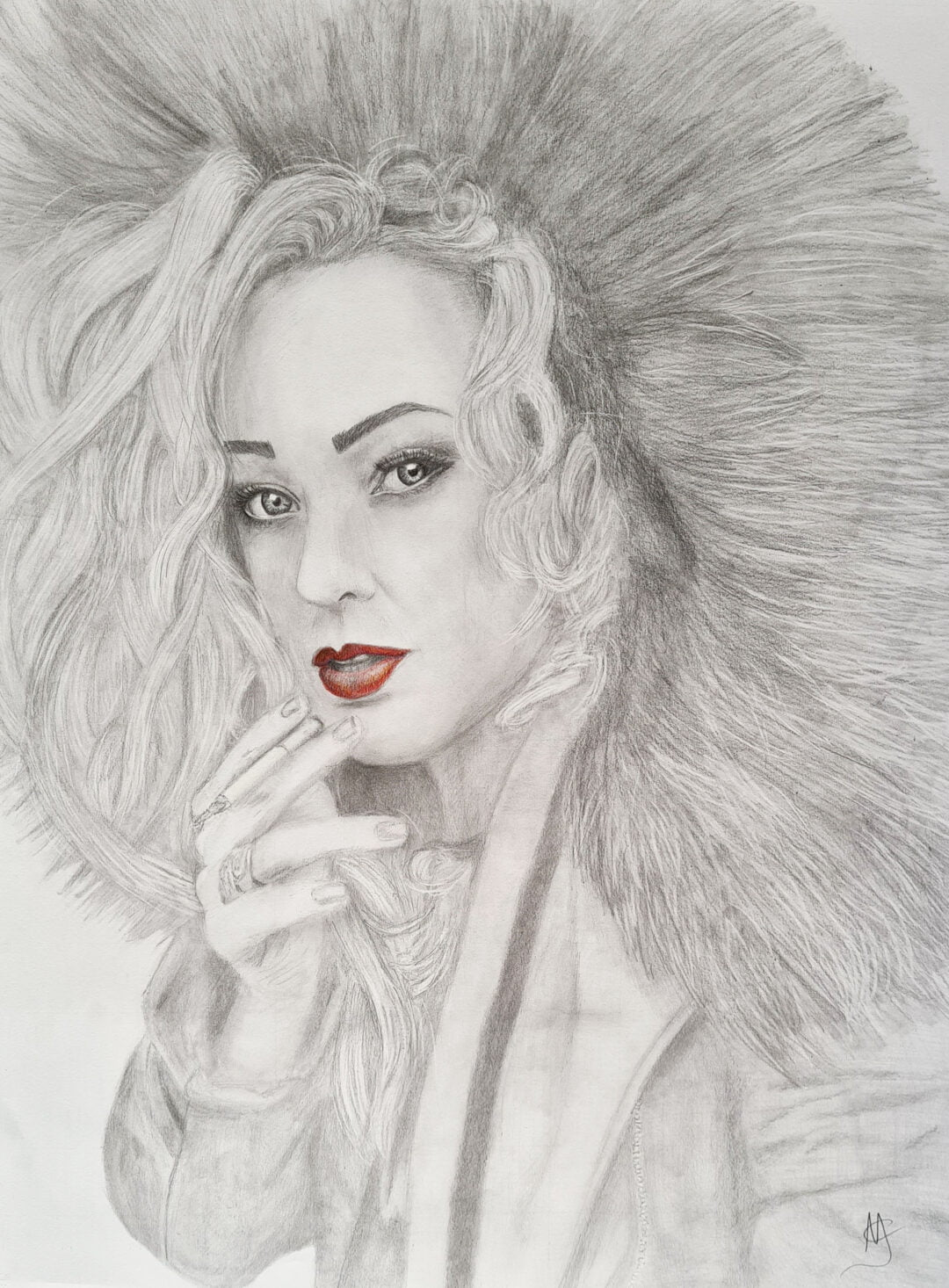 Girl with Red Lips – Drawing