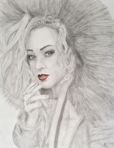 Girl with red lips Drawing