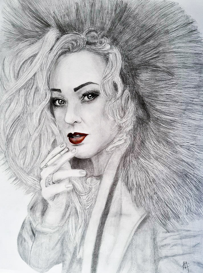 Girl with red lips drawing graphite