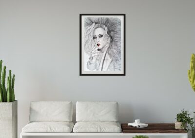 SOLD | Commission |  Girl with red lips | Drawing | Nov 2020