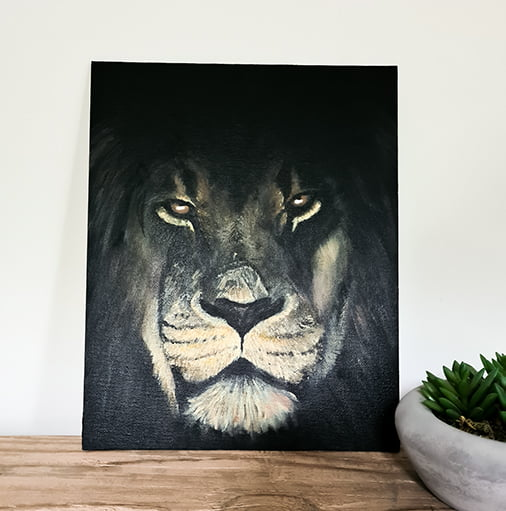Donker leeuwen schilderij