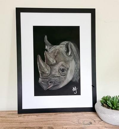 Black Rhino Pastel Painting Framed