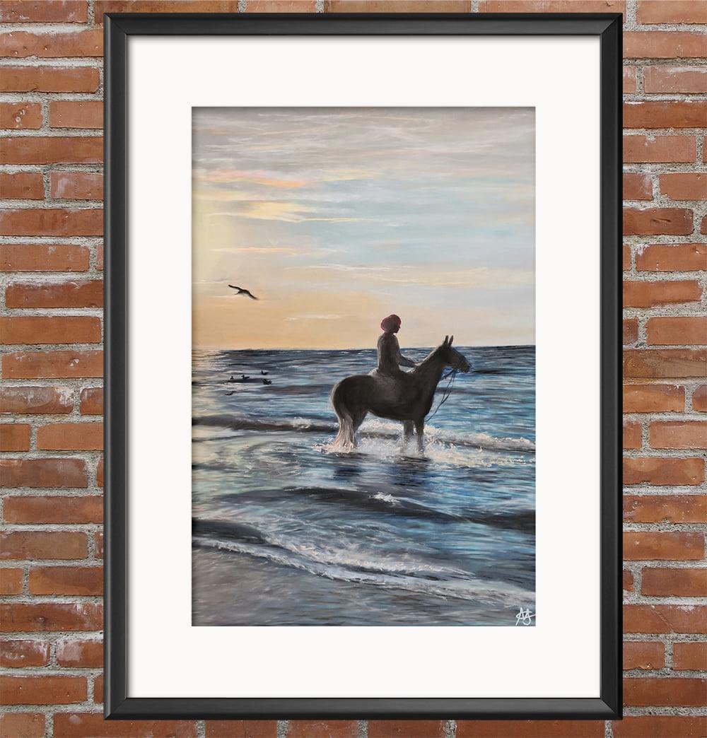 Summer Beach Ride Pastel Painting