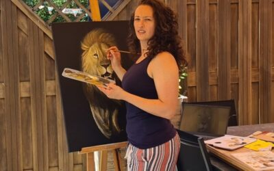 Painting of Lion in Acrylics