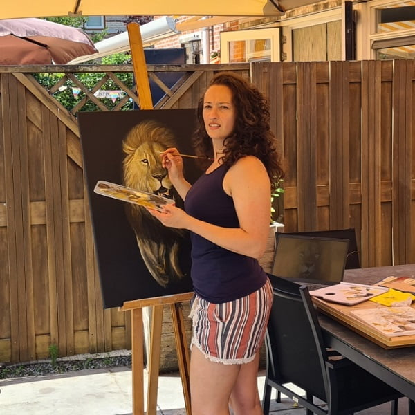 Lion Painting outside